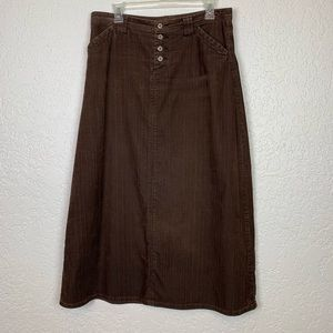 Sundance Catalog 10 brown corduroy maxi skirt